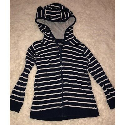 Navy White Striped Bear Hoodie Baby Boys 12-18 Months