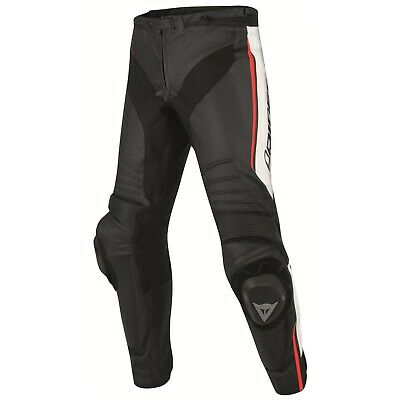 Perforated Leather Pants Dainese Racing Misano Black/White/Fluo-Red - 52