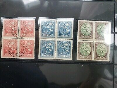 1920 Latvia stamp blocks (3) - sc.#70 used, sc.71-72 MNH