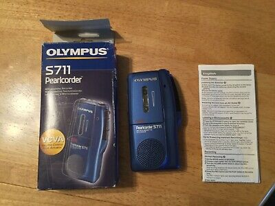 Olympus Pearlcorder S711 Microcasette recorder blue