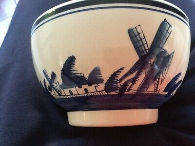 Vintage Dutch Delft? Hand painted Blue & White Bowl - Sailboats & Windmills