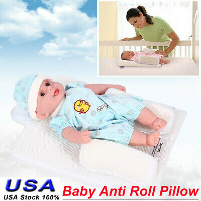 Newborn Baby Infant Anti Roll Pillow Sleep Position Cushion Prevent Flat Head