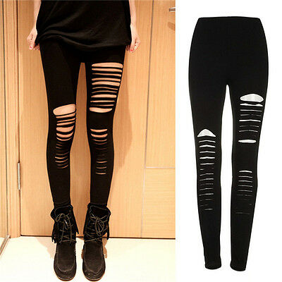 Sexy Black Punk Zerrissene zerrissene Cut Striped Leggings Hosen Gothic Club FBB