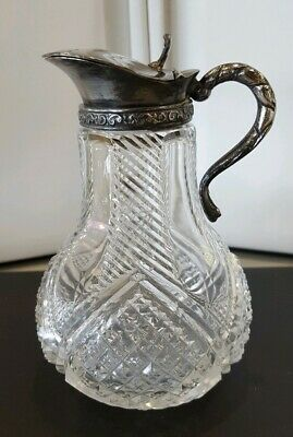 19TH Century Victorian Cut Glass Syrup Pitcher w/ Hinged Lid Silverplate Lid...