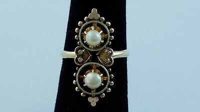 """Vintage 14k Yellow Gold Ring 2 White 3.5 mm Pearls 0.90"""" Tall Ring Face Sz 4.25"""