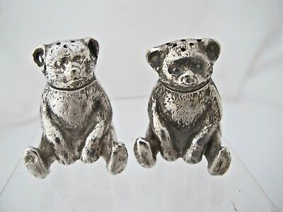 Edwardian silver novelty teddy-bear pepper pots William Vale and sons B'ham 1909