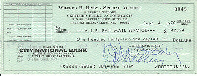 BILL BIXBY INCREDIBLE HULK VINTAGE 1970 SIGNED CHECK TO FAN MAIL SERVICE d. 1993