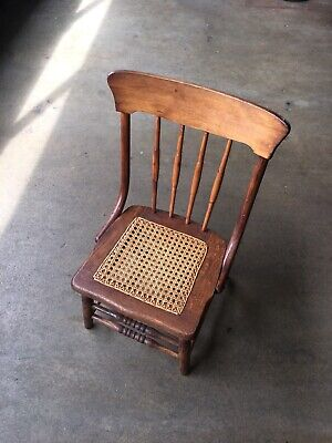 White Oak Wicker Kids Chair Antique Vintage