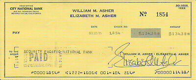 Elizabeth Montgomery Bewitched 1973 Signed Check Signed With Married Name