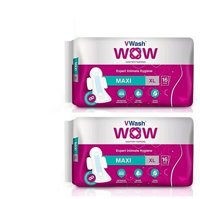 Pack Of 2 Maxi Sanitary Napkin/Pads By VWash WOW 16 Count (Extra Large) GR