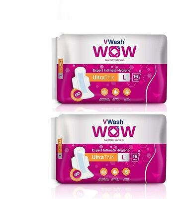 Pack Of 2 Ultra Thin Sanitary Napkin/Pads By VWash WOW 16 Count (Large) GR