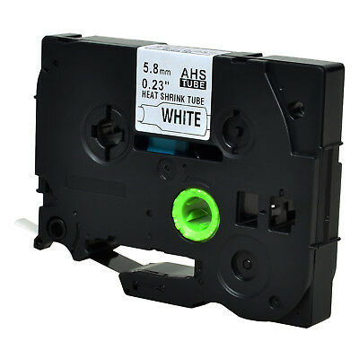 Black on White Heat-Shrink Tube Label Tape for Brother HSe-211 HSe211 D400 5.8mm