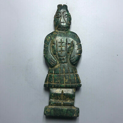 Chinese old natural jade hand-carved statue pendant 116