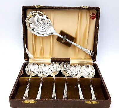 Art Deco Yeoman silverplate Fruit Spoons set of seven