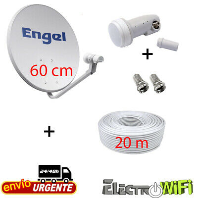 Antena Satelite 60 Cm Engel + Lnb + 20 Mts Cable Coaxial // Parabolica Calidad