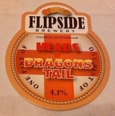 Beer pump clip badge front FLIPSIDE brewery HEADS OR DRAGONS TAIL cask ale