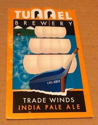 Beer pump clip badge front TUNNEL brewery TRADE WINDS cask ale Warwickshire