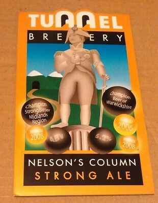 Beer pump clip badge front TUNNEL brewery NELSON'S COLUMN cask ale Warwickshire