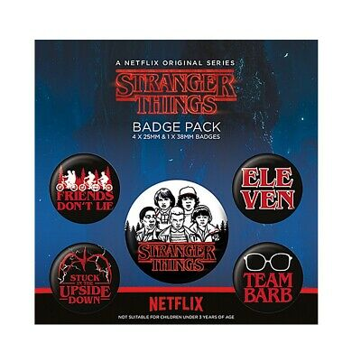Genuine Netflix Stranger Things Characters 5 Piece Badge Set Button Badges