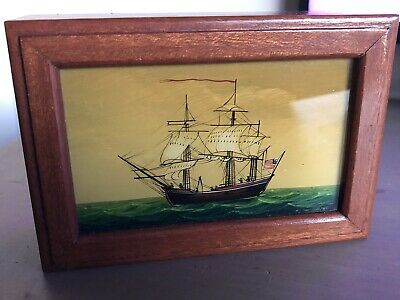 Vintage Painted Wood Trinket Box With Painting of Ship on Lid