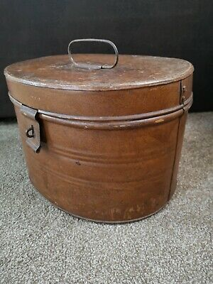 Large Vintage Tin Hat Box - VGC