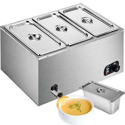 3 Pans Electric Food Warmer Holder 3 Lids W/Top Stainless Steel Cookware 220V