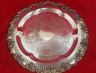 "Vintage Silverplate on Copper Grape & Leaf Serving Tray 14"" Diameter"