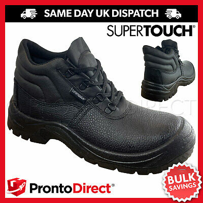Safety Work Boots with Steel Toe Cap & Midsole - UK Mens Black Leather Shoes
