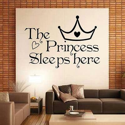 The Princess Sleeps Here Quote Removable Wall Sticker Vinyl Decal Decor ON SALE