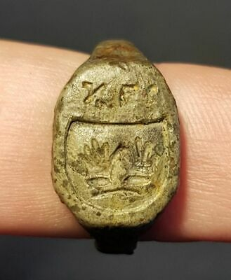 Medieval Jewish Tin Ring with Seal Stamp 14-16th century