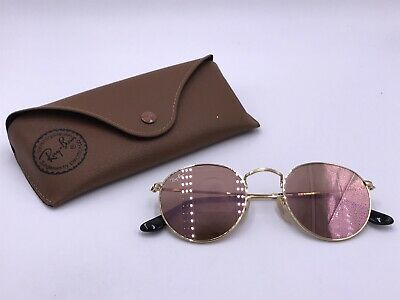 66f154d2e4b71 RAY BAN RB3447N 001 Z2 ROUND FLAT LENSES Copper Flash lenses  Gold  AUTHENTIC -  59.00