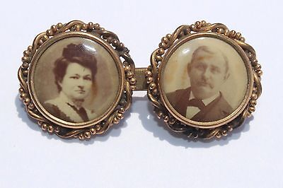 RARE Antique Victorian Gold Filled Double PHOTO PORTRAIT MAN WOMAN Pin Brooch