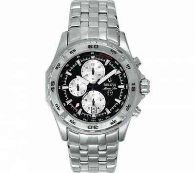 BULOVA 96G55 Men's Watch 41mm Chronograph Black Dial Stainless Steel Quartz