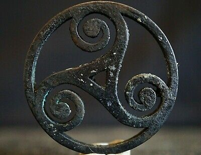 Ancient Celtic Bronze Amulet. Triskele Trinity Symbol of Eternity Loop, 100-50Bc