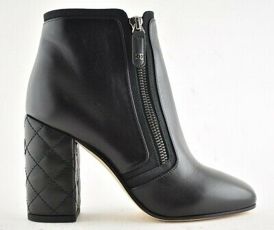12b96192b28 Chanel 18P Black Lambskin Leather CC Quilted Block Heel Short Ankle Bootie  35.5