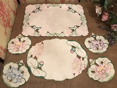 Set of Vintage Table Linen Mats Colour Embroidered Flower Shaped Water Lily Leaf