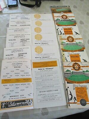 10 Wolverhampton Wanderers home programmes 1954 - 1968  joblot as listed