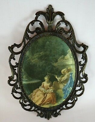 Silk Satin Print Padded in Ornate Metal Frame Made in ITALY Vintage Couple