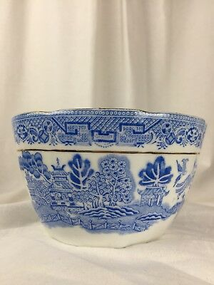 Tuscan China Light Blue Willow Print Bowl Crimped Frill Edge Gilded