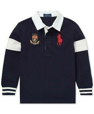 NWT Polo Ralph Lauren Toddler Boys Big Pony Cotton Rugby Pullover Shirt