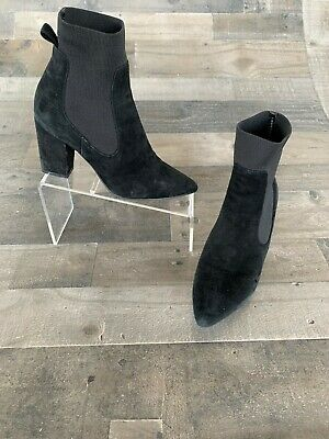 9008fc9560a STEVE MADDEN WOMAN S Black Suede Pull On Wood Heel Ankle Booties ...