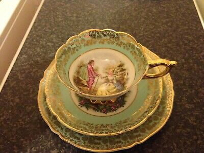 Vintage 22Kt Gold Bone China Tea Cup Saucer & Side Plate Courting Couple
