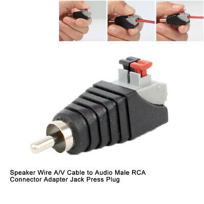 Array Speaker Wire A/V Cable to Audio Male RCA Connector Adapter Jack Press Plug