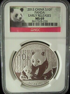 2012 China Panda 10 Yuan NGC MS69 Early Releases 1 Ounce Silver Coin Read Sale!