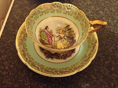 Vintage 22Kt Gold Bone China Tea Cup & Saucer Courting Couple
