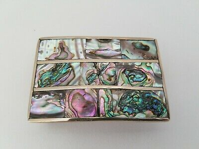 Vintage Mexico Alpaca Silver Abalone Inlay Belt Buckle~Great Condition