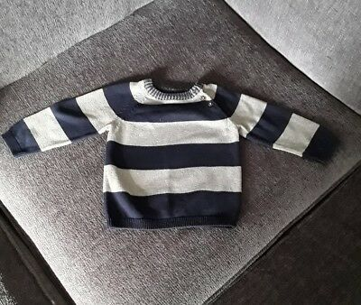 H&M Baby boy 9 to 12 months jumper. Navy and grey.