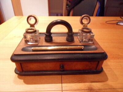 Antique Victorian Pen and Ink Stand complete with glass & brass inkwells