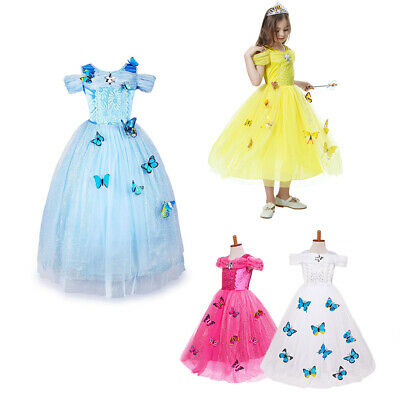 Canis Newborn Kid Baby Girl Cinderella Belle Tiana Rapunzel Princess Party Dress