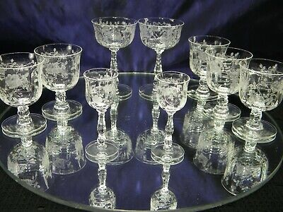 Set Of 9 Beautiful Vintage Etched Crystal Cordial~Sherry Glasses